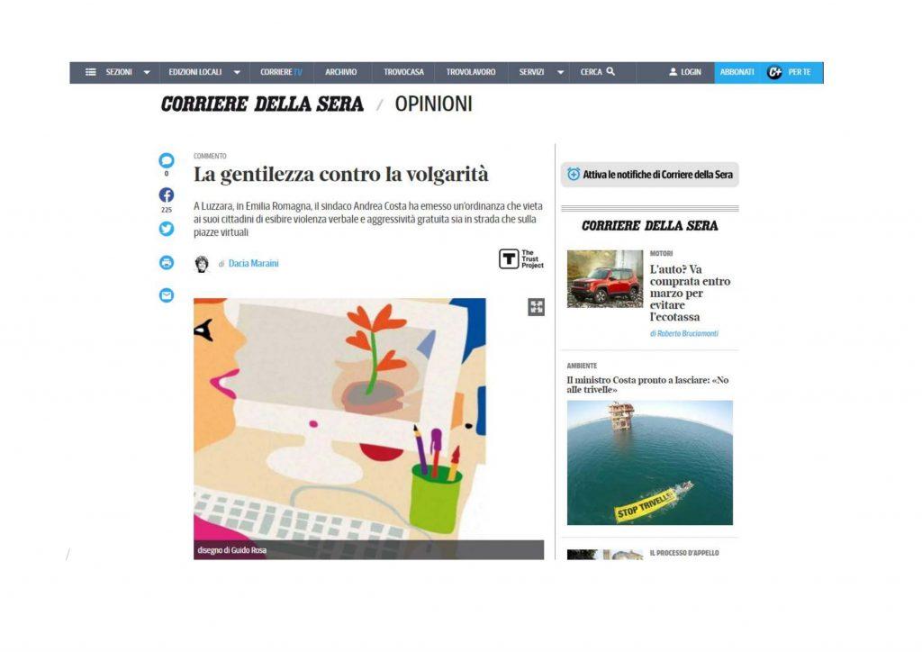 """Oggi  22 Gennaio 2019, sul Corriere della Sera,  Dacia Maraini cita """"la gentilezza che cambia le relazioni"""""""
