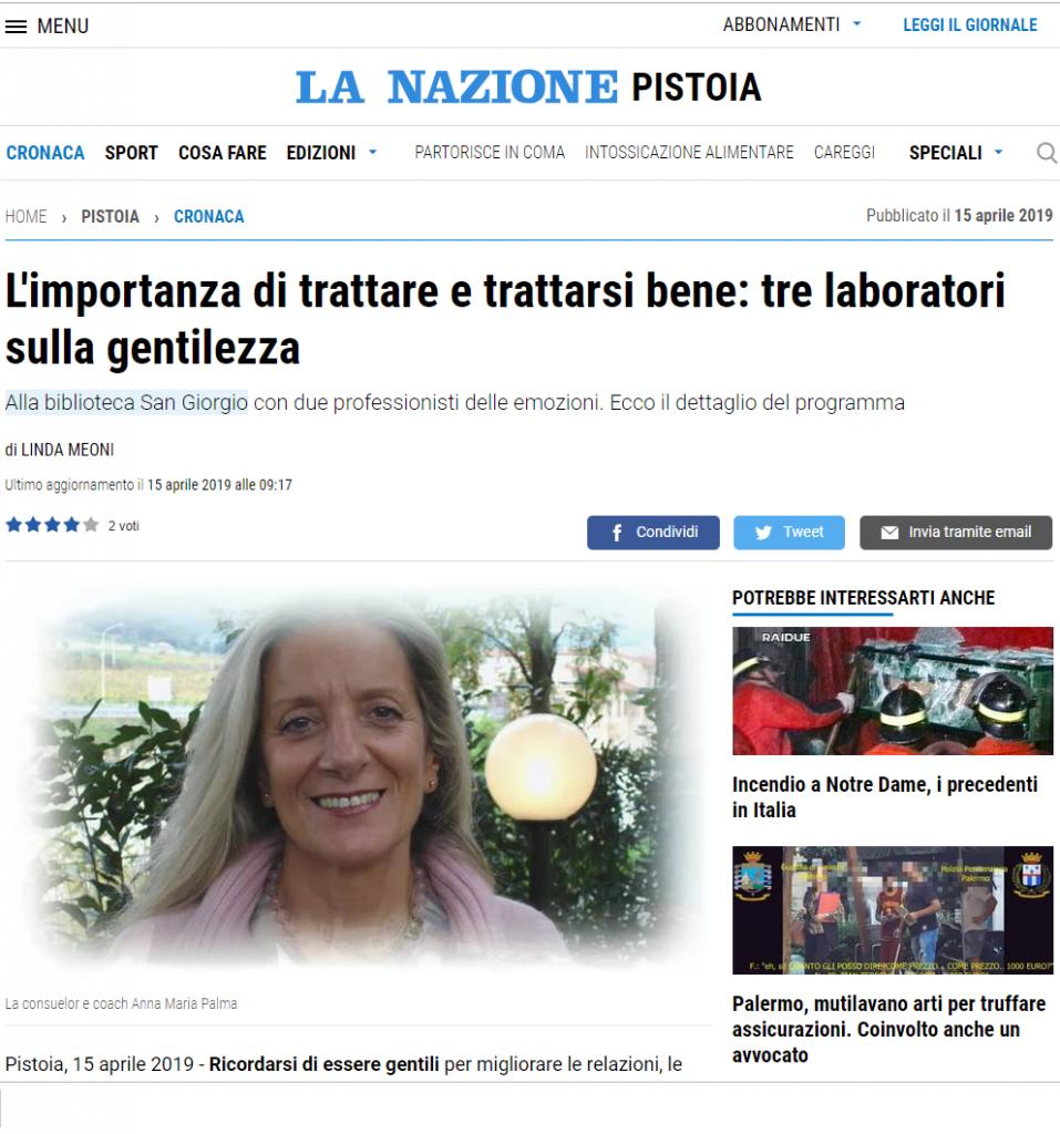 15 Aprile 2019, Sulla Nazione, presentazione dei laboratori sulla gentilezza in programma alla Biblioteca San Giorgio di Pistoia.