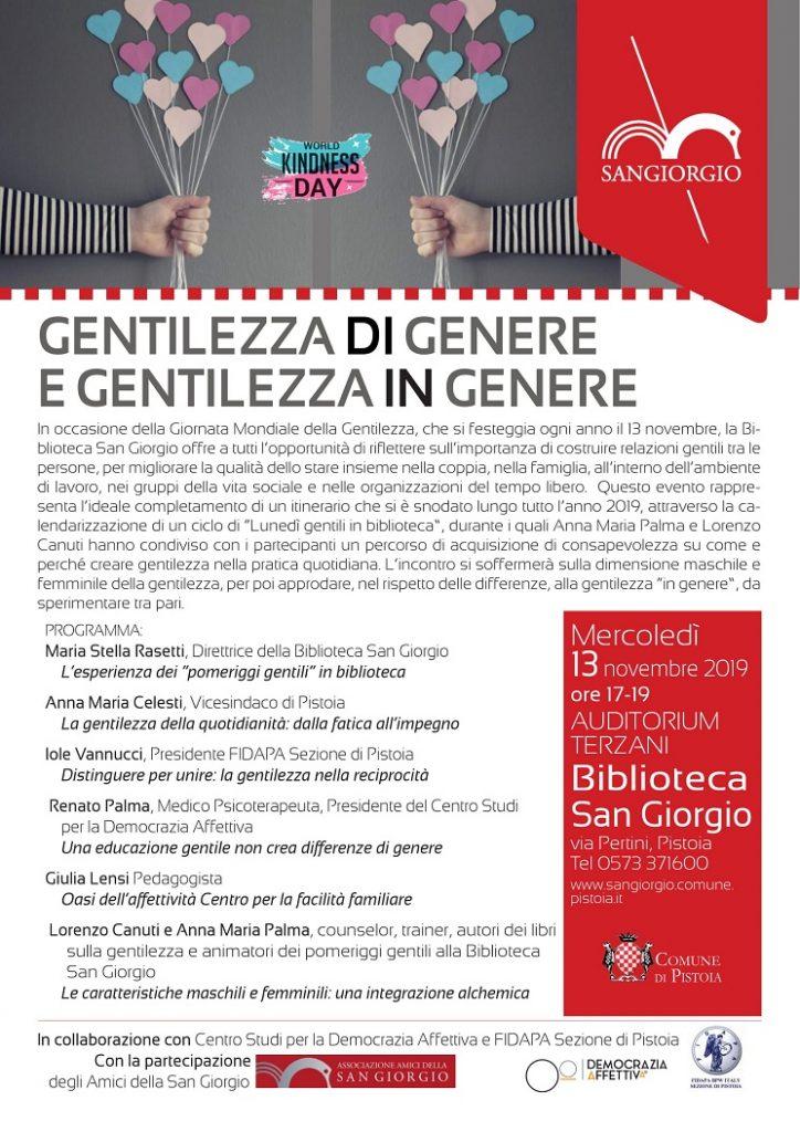 Flyer Incontro Gentilezza di Genere e Gentilezza in Genere 13 Novembre 2019 17-19 Biblioteca San Giorgio, Pistoia